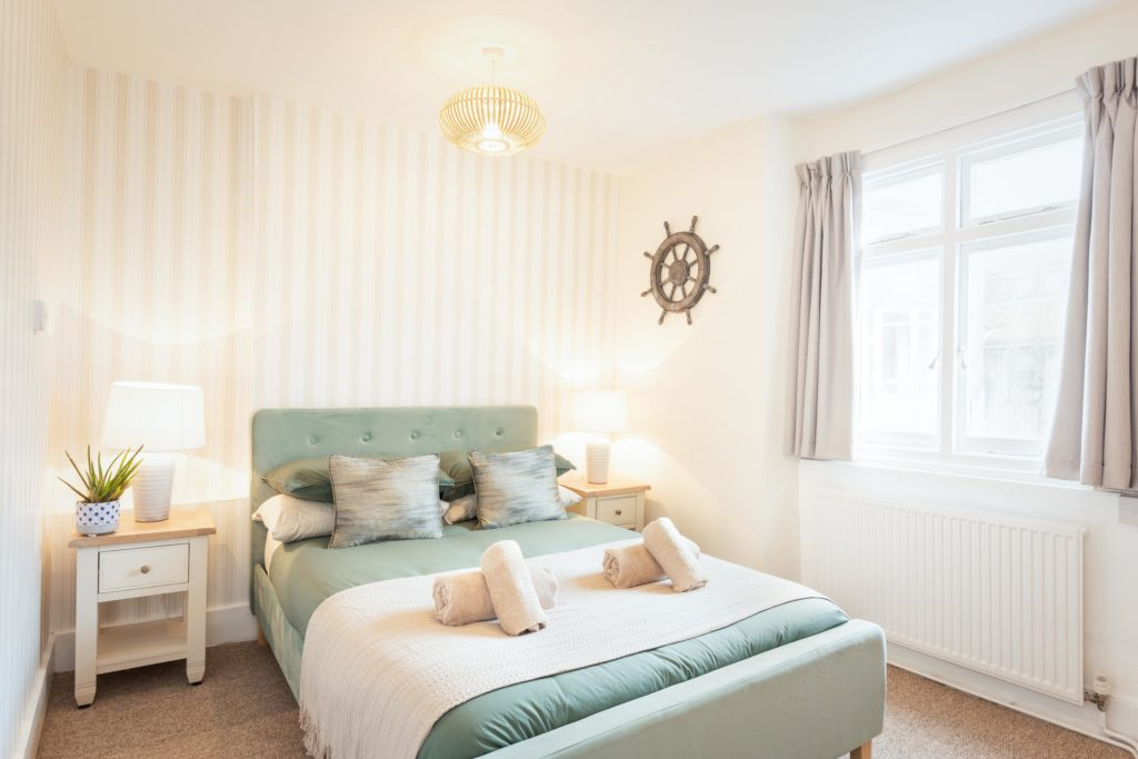 holiday let double bedroom with coastal decor