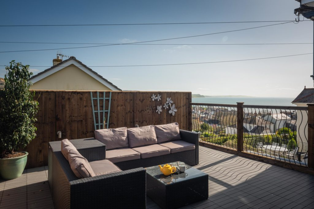 South facing terrace with Lyme Bay views