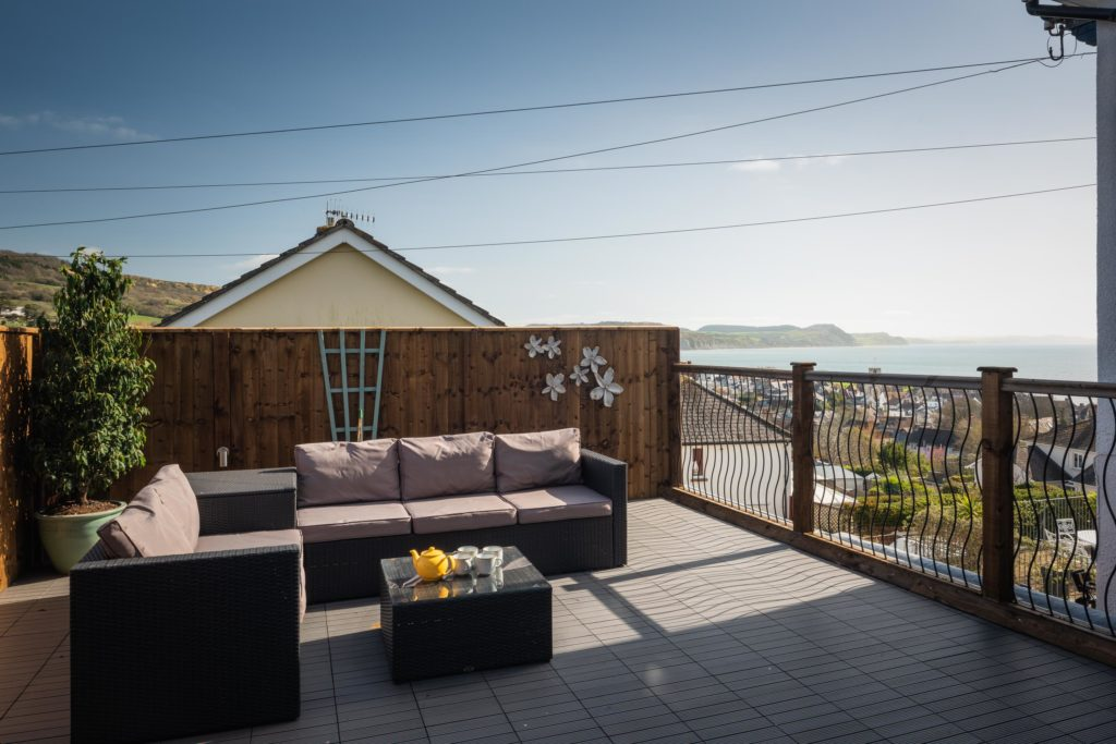 Private terrace overlooking Lyme Bay Dorset