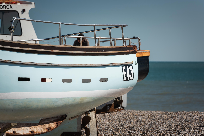 Fishing boat in Devon on Beer beach